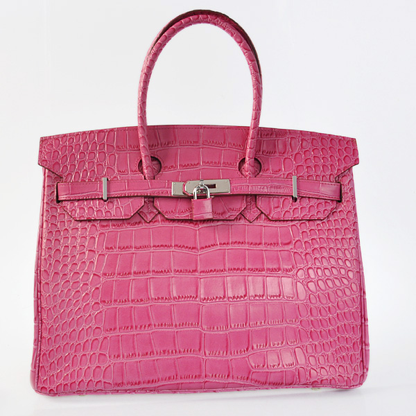 H35PCSS Hermes Birkin 35CM Peach Crocodile stripes leather(Silver)