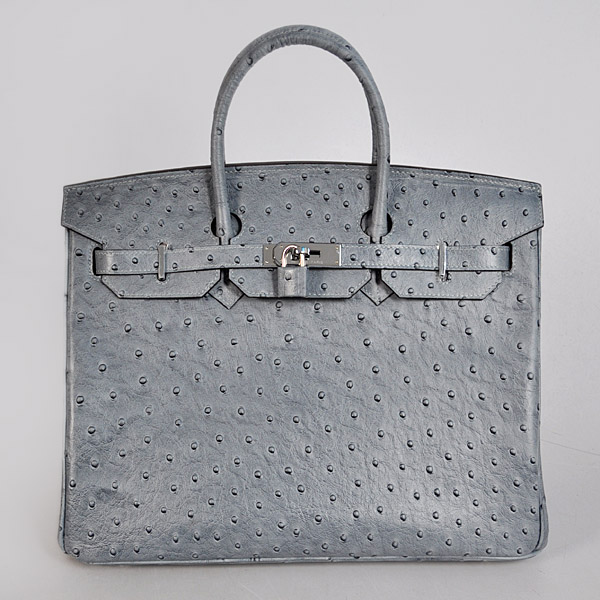 H35GOSS Hermes Birkin 35CM Gray Ostrich stripes leather(Silver)