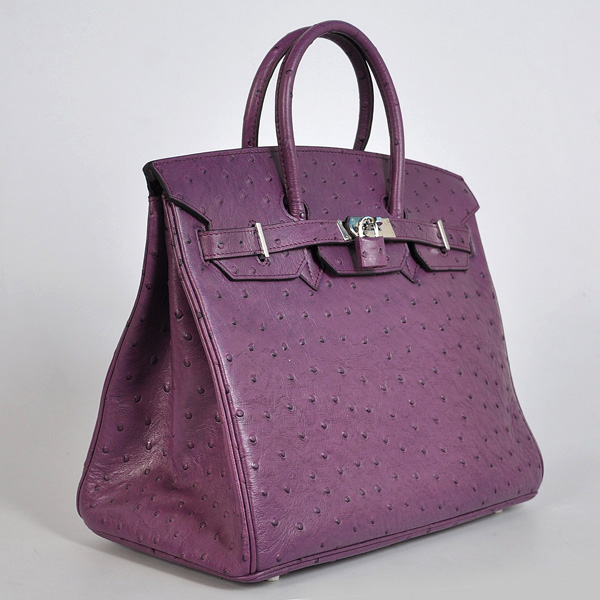 H35POSS Hermes Birkin 35CM Purple Ostrich stripes leather(Silver)