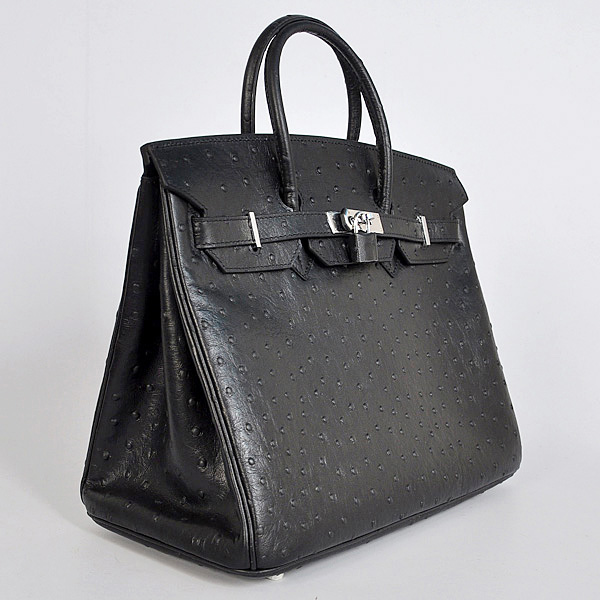 H35BOSS Hermes Birkin 35CM Black Ostrich stripes leather(Silver)