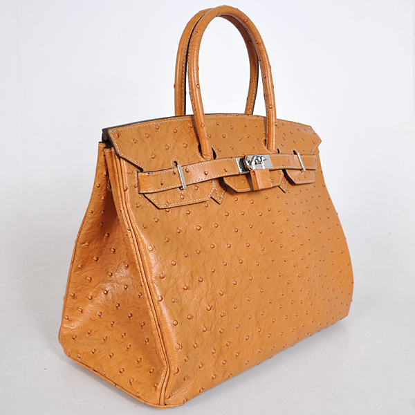H35WOSS Hermes Birkin 35CM wheat Ostrich stripes leather(Silver)