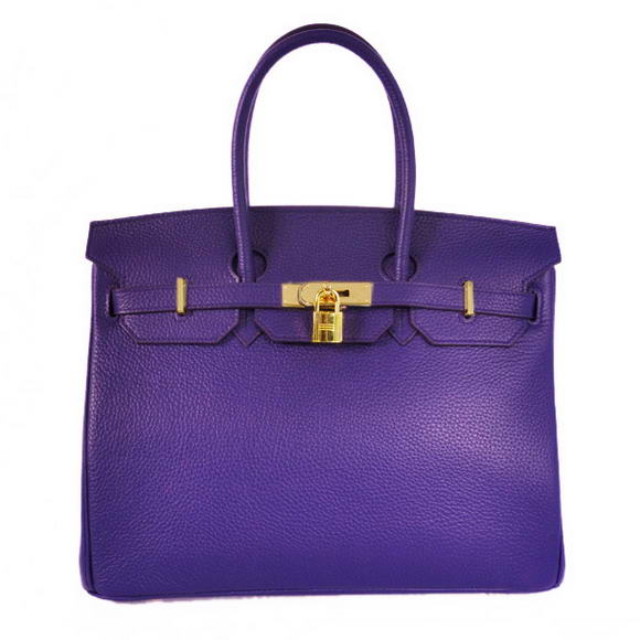 H35 Hermes Birkin 35CM Tote Bags Granulate Calf Leather H35 Iris Purple Gold