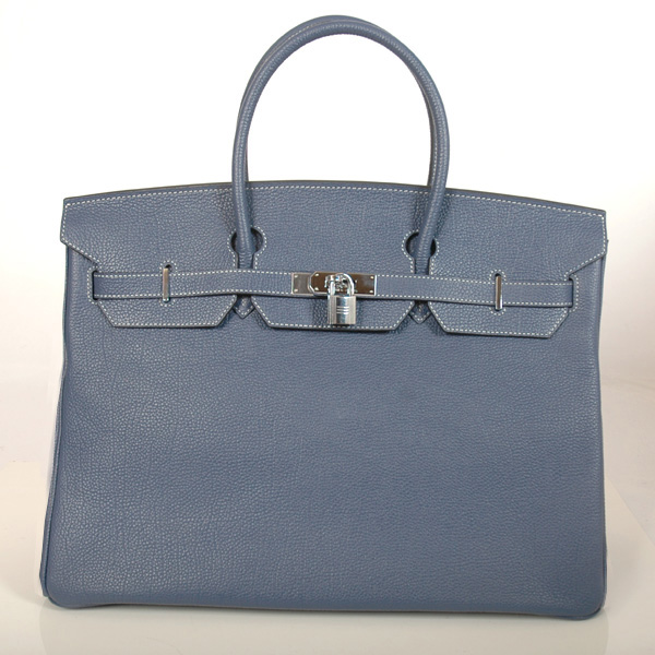 H40BJDBS Hermes Birkin togo leather 40CM togo in Dark Blue with Silver hardware