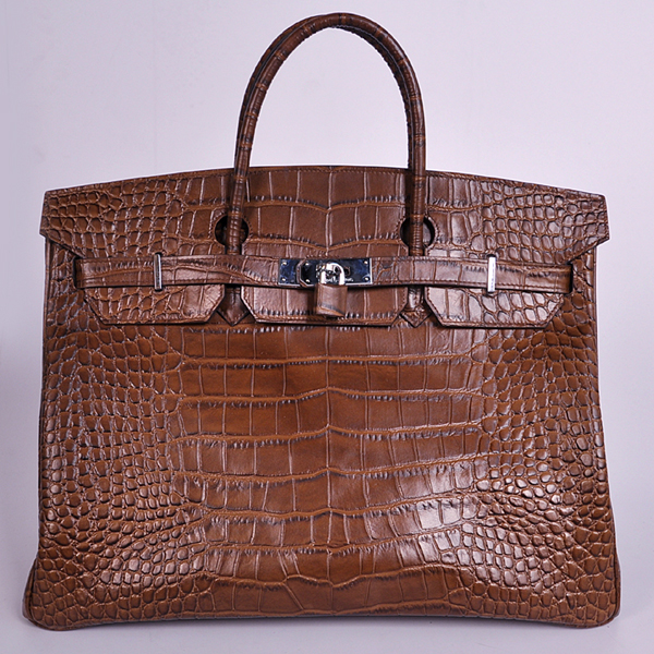 H40CSCS Hermes Birkin 40CM Crocodile stripes leather in Coffee with Silver hardware