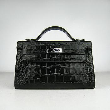 HKL220BCS009 Hermes Kelly 22CM Black Crocodile Stripe