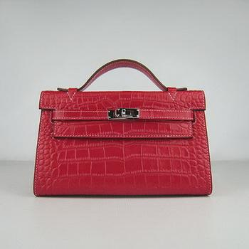 HKL220RCS007 Hermes Kelly 22CM Red Crocodile Stripe