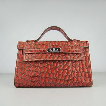 HKL22DOSS004 Hermes Kelly 22CM Dark Orange Stone Stripe