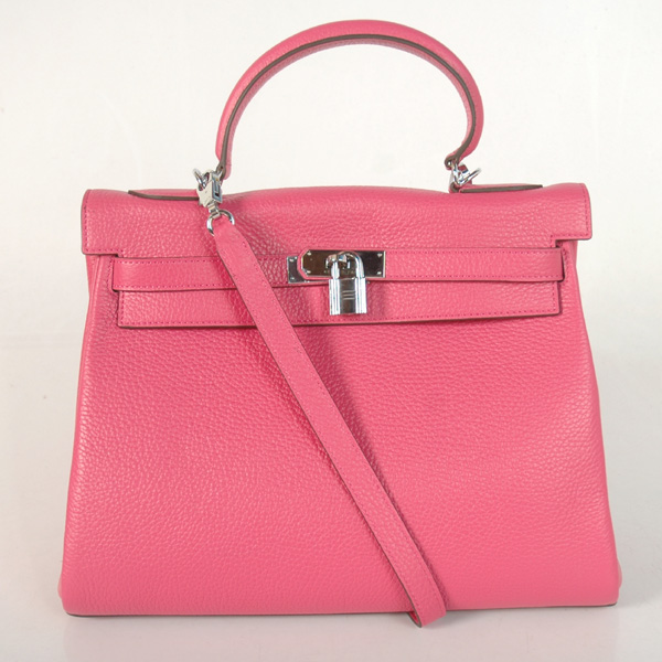 K32LSPS Hermes Kelly 32CM clemence leather in Peach with Silver hardware