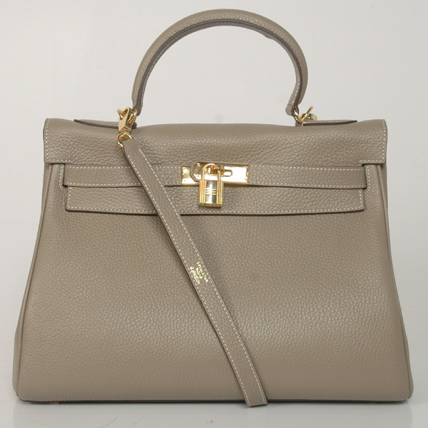 K32LSDGG Hermes Kelly 32CM clemence leather in Dark Grey with Gold hardware