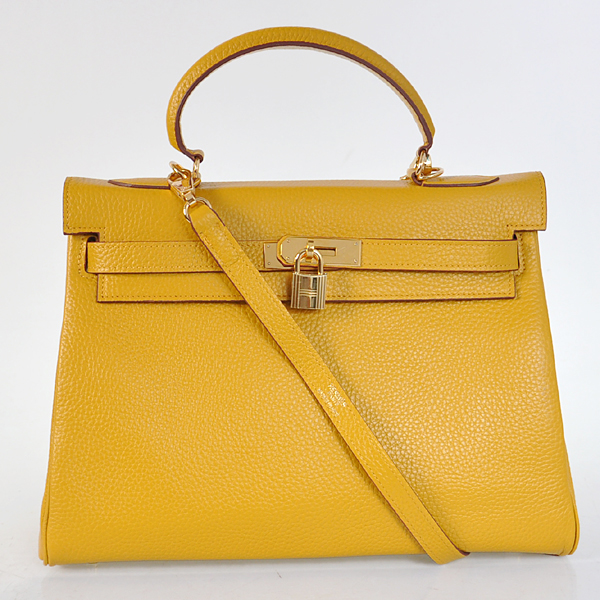 K32LSYG Hermes Kelly 32CM clemence leather in Yellow with Gold hardware