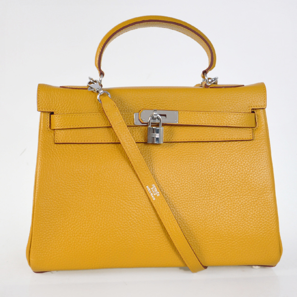 K32LSYS Hermes Kelly 32CM clemence leather in Yellow with Silver hardware