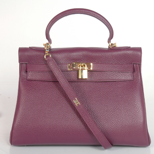 K32LSPG Hermes Kelly 32CM clemence leather in Purple with Gold hardware