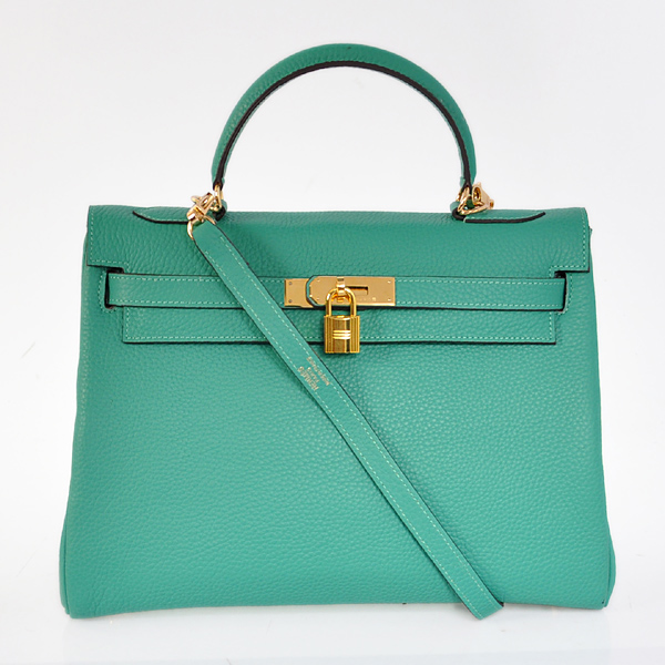 K32LSLGG Hermes Kelly 32CM clemence leather in Lake Green with Gold hardware