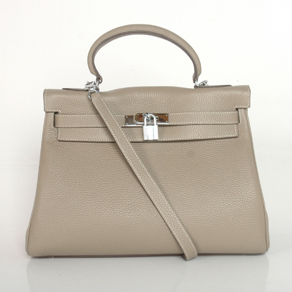 K32LSDGS Hermes Kelly 32CM clemence leather in Dark Grey with Silver hardware