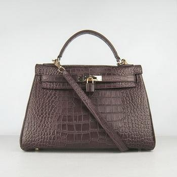 HKL32DCCSG19 Hermes 32CM Dark Coffee Crocodile Stripe(gold)