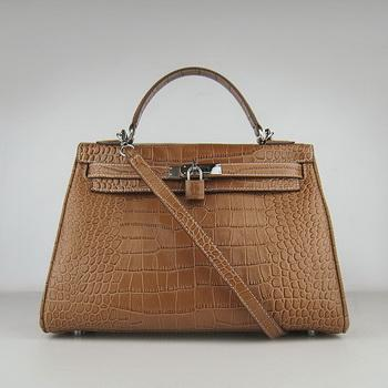 HKL32LCCSS18 Hermes 32CM Light Coffee Crocodile Stripe(silver)
