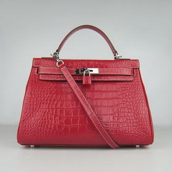 HKL32RCSS017 Hermes 32CM Red Crocodile Stripe(silver)