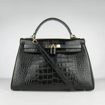 HKL32BCSG016 Hermes 32CM Black Crocodile Stripe(gold)