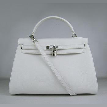 HKL32O0WS014 Hermes Kelly Handbags 32CM White(silver)