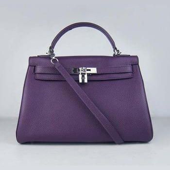 HKL32O0PS013 Hermes Kelly Handbags 32CM Purple(silver)