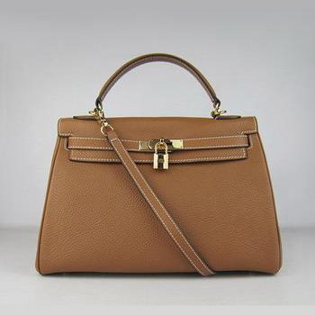 HKL32OLCG008 Hermes Kelly Handbags 32CM Light Coffee(gold)