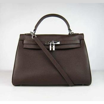 HKL32ODCS004 Hermes Kelly 32CM Dark Coffee(silver)