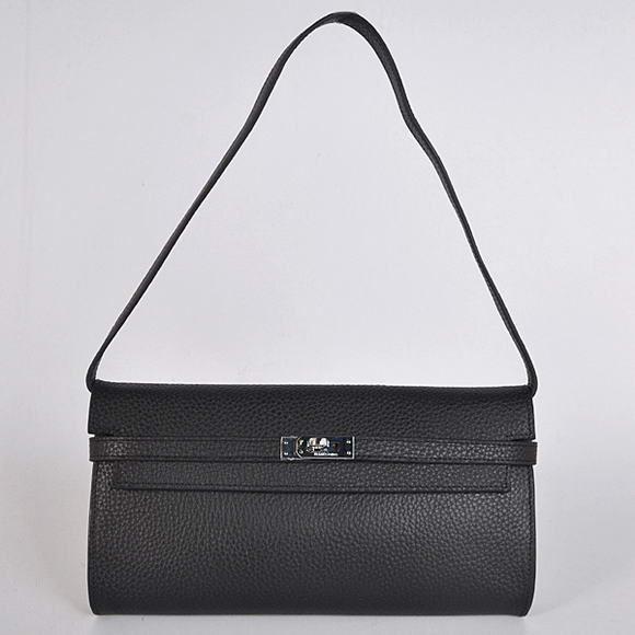 H1001 Hermes Kelly 26CM Shoulder Bag Clemence Black