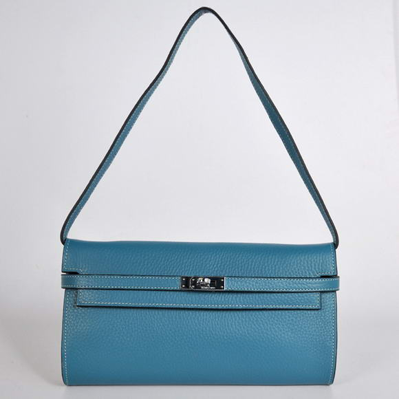 H1001 Hermes Kelly 26CM Shoulder Bag Clemence Blue