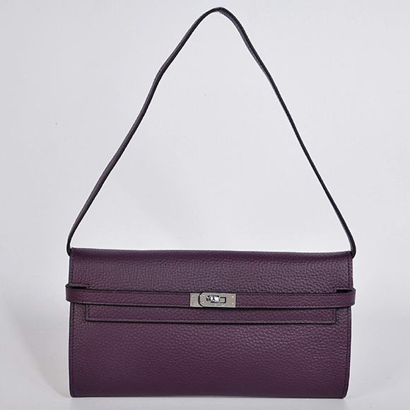 H1001 Hermes Kelly 26CM Shoulder Bag Clemence Purple