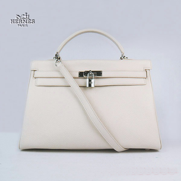 6308 Hermes Kelly 35cm Togo Leather Bag Beige 6308 Silver Hardware