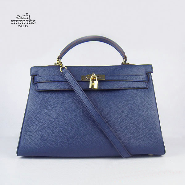 6308 Hermes Kelly 35cm Togo Leather Bag Dark Blue 6308 Gold Hardware