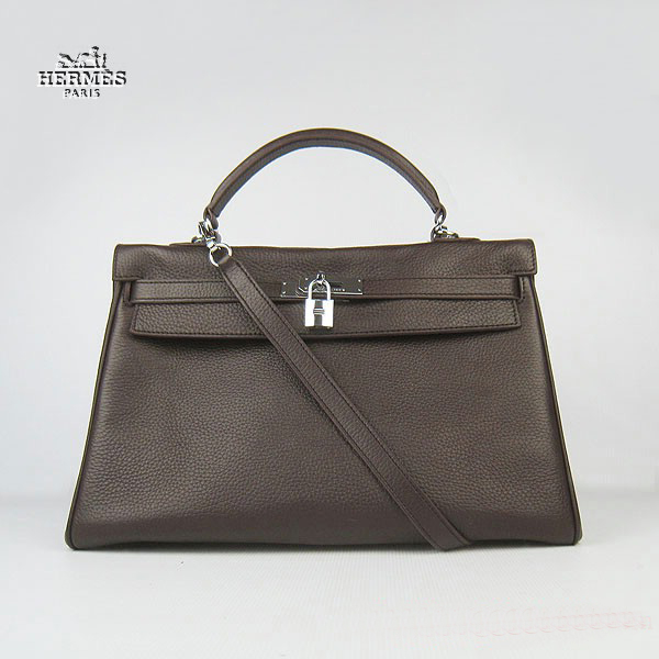6308 Hermes Kelly 35cm Togo Leather Bag Dark Coffee 6308 Silver Hardware