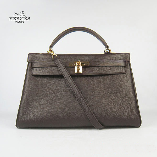 6308 Hermes Kelly 35cm Togo Leather Bag Dark Coffee 6308 Gold Hardware