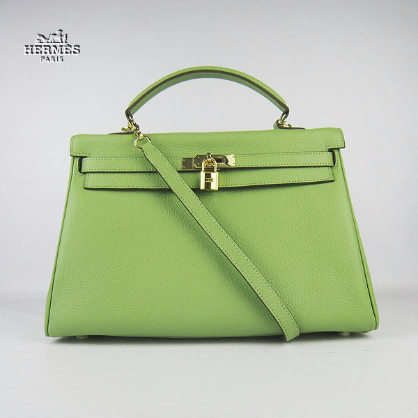 6308 Hermes Kelly 35cm Togo Leather Bag Green 6308 Gold Hardware