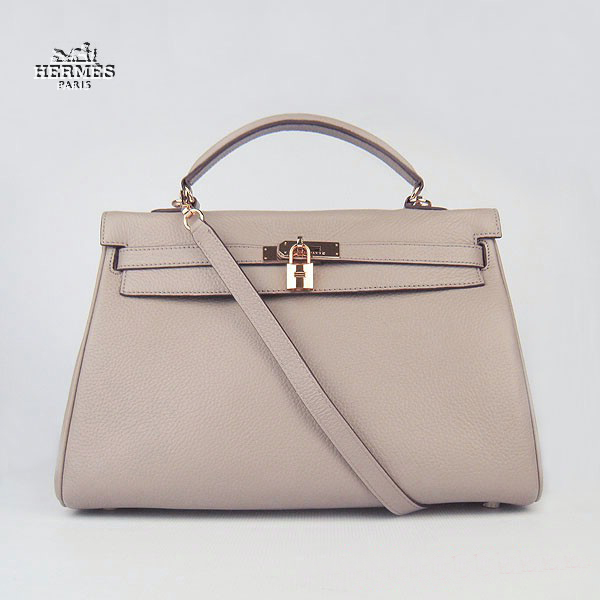 6308 Hermes Kelly 35cm Togo Leather Bag Grey 6308 Gold Hardware