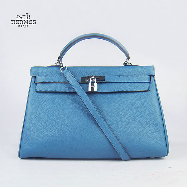 6308 Hermes Kelly 35cm Togo Leather Bag Blue 6308 Silver Hardware