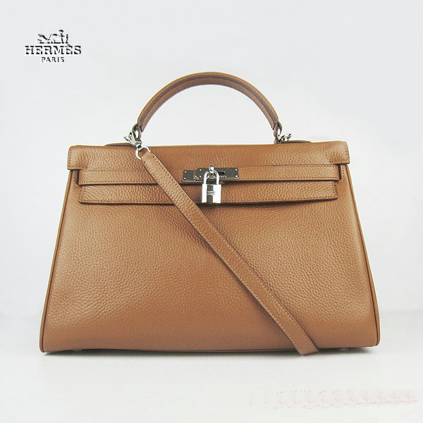 6308 Hermes Kelly 35cm Togo Leather Bag Light Coffee 6308 Silver Hardware