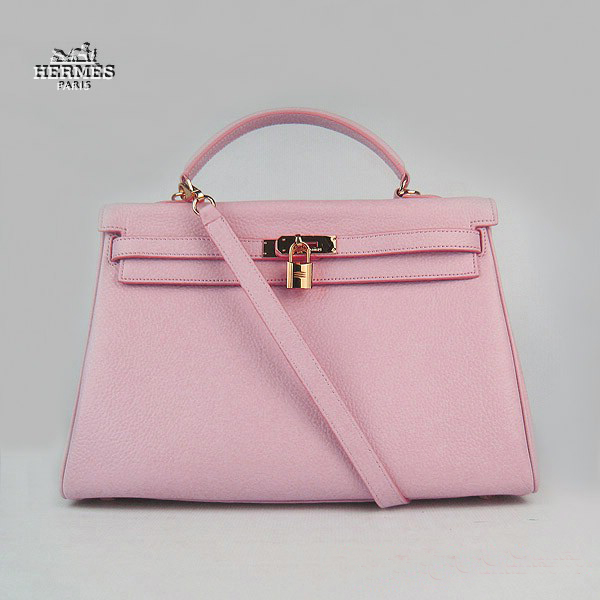 6308 Hermes Kelly 35cm Togo Leather Bag Pink 6308 Gold Hardware