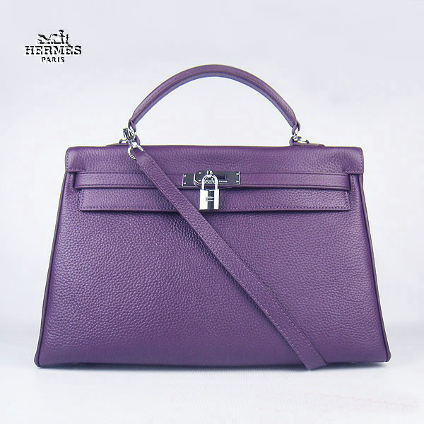 6308 Hermes Kelly 35cm Togo Leather Bag Purple 6308 Silver Hardware
