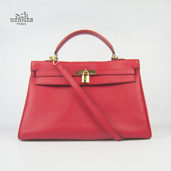 6308 Hermes Kelly 35cm Togo Leather Bag Red 6308 Gold Hardware
