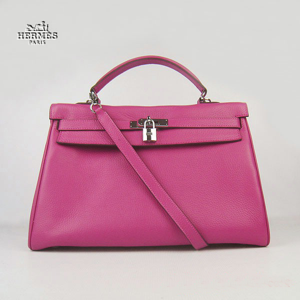 6308 Hermes Kelly 35cm Togo Leather Bag Peachblow 6308 Silver Hardware