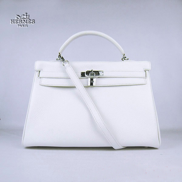 6308 Hermes Kelly 35cm Togo Leather Bag White 6308 Silver Hardware