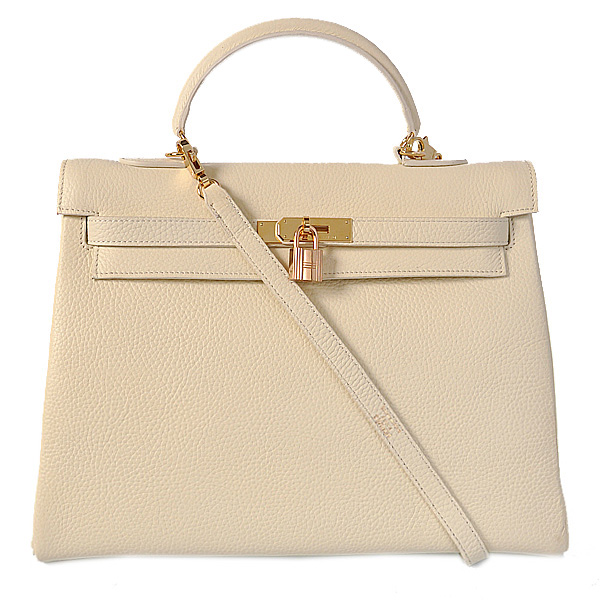 K35COWG Hermes kelly 35CM clemence leather in Off-white with Gold hardware