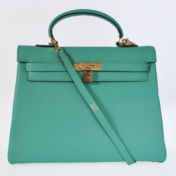 K35CLGG Hermes kelly 35CM clemence leather in Lake Green with Gold hardware