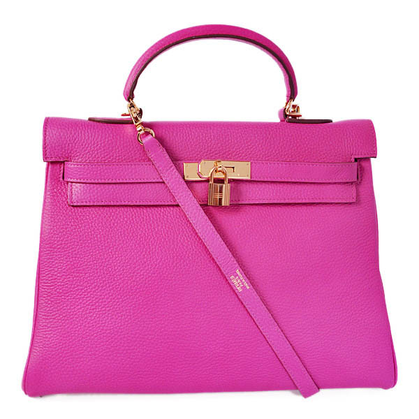 K35CPG Hermes kelly 35CM clemence leather in Purpurin with Gold hardware