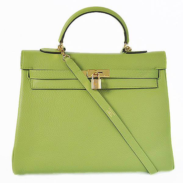 K35CLGG Hermes kelly 35CM clemence leather in Light green with Gold hardware