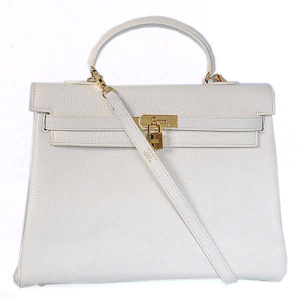 HKL35W Hermes kelly 35CM White clemence leather(Gold)