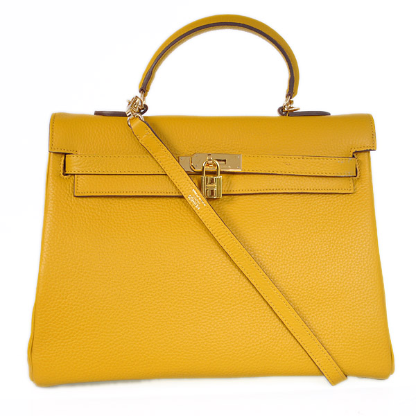 HKL35Y Hermes kelly 35CM Yellow clemence leather(Gold)