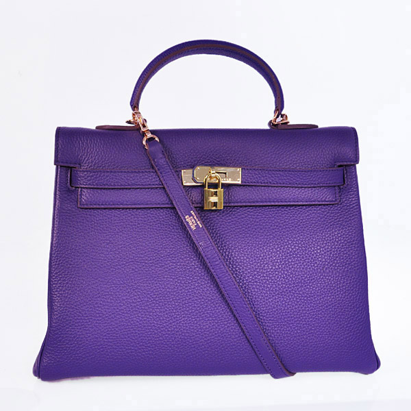 HKL35IP Hermes kelly 35CM Iris Purple clemence leather(Gold)