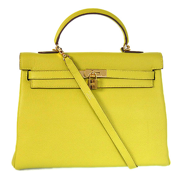 HKL35LY Hermes kelly 35CM Lemon yellow togo leather(Gold)
